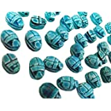 205 9 Egyptian Faience Scarab Carved Hieroglyph Beads XXS lux Pendant Stone