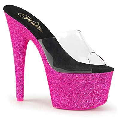 Summitfashions Womens Hot Pink Heels Slide Sandals UV Reactive Shoes Neon  Glitter 7 Inch Heels Size 97b864d47