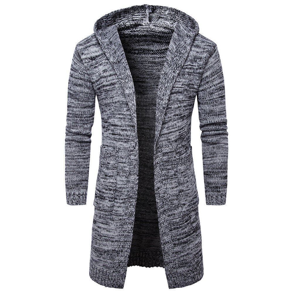 Amazon.com: Faionny Mens Hooded Knit Sweater Fashion Slim Fit Cardigan Long Trench Coat Jacket Winter Outwear: Clothing