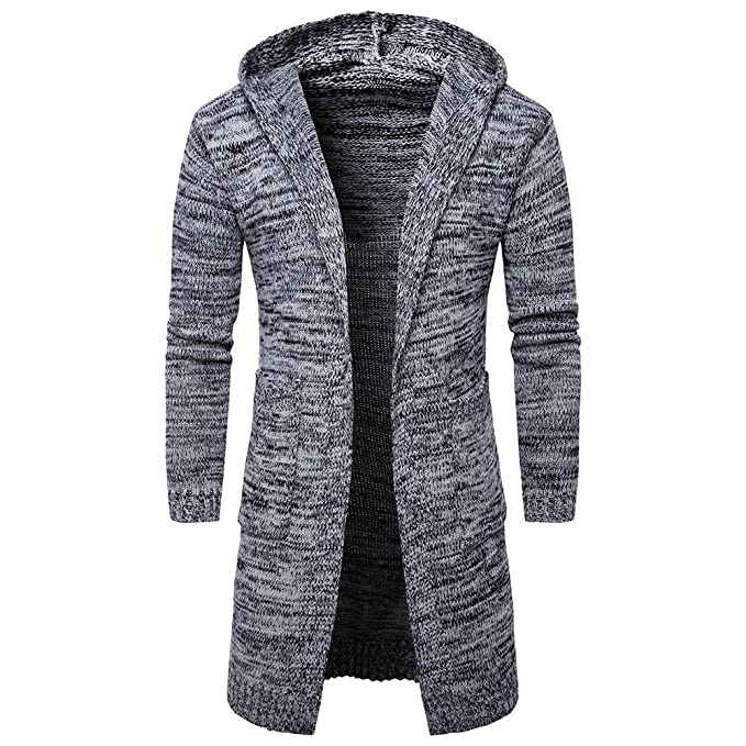 Amazon.com: WM & MW Fashion Mens Cardigan Casual Slim Open Front Hooded Sweater Jacket Knit Long Coat Outwear: Clothing