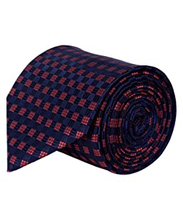 Barata Formal ties For Men, Navy & Red Dobby Woven Tie