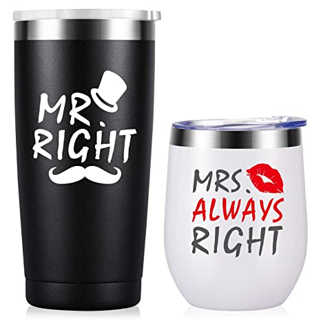 Funny Wedding Shot Glasses Mr Right and Mrs Always Right Gift for Newlyweds Brid