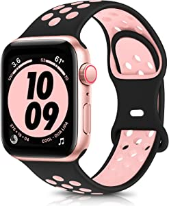 OYODSS Sport Bands Compatible with Apple Watch Band 38mm 40mm 42mm 44mm, Breathable Soft Silicone Replacement Wristband Strap Compatible with iWatch Series 6 5 4 3 2 1 SE Women Men Black&Pink
