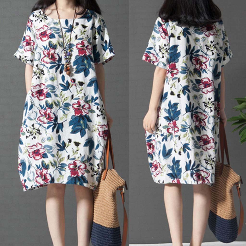 PASATO M-5XL Plus Size Women's Casual Short Sleeve O-Neck Floral Print Cotton Dress With Pockets T-Shirt Dress(White,M=US:S) by PASATO Dress (Image #7)
