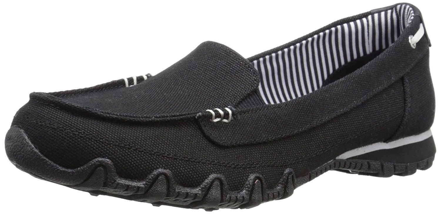Skechers Women's Bikers Pedestrian Memory Foam Slip-On Moccasin,8 M US,Black Canvas