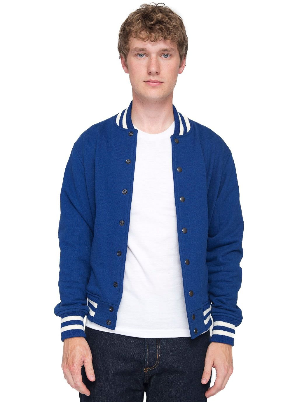 American Apparel Men's Heavy Terry Club Jacket, Royal Blue, Small