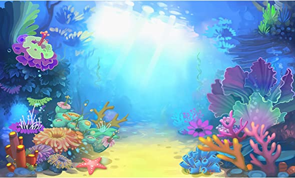 ScottDecor Sea Animals Undersea Backdrop for Photography Two Dolphins with Red Heart Romance Love Valentines Happiness in Ocean Theme Home Fish Tank Backdrop Blue White L36 X H16 Inch