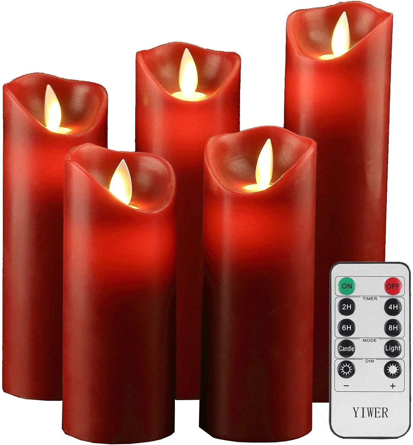 YIWER Flameless Candles 6 Set of Real Wax Not Plastic Pillars Include Realistic Dancing LED Flames and 10-Key Remote Control with 2//4//6//8-hours Tim
