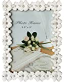 L&T Metal Picture Photo Frame Silver Plated with White Enamel and Crystals, Elegant Floral Style 3.5 x 5 Inch