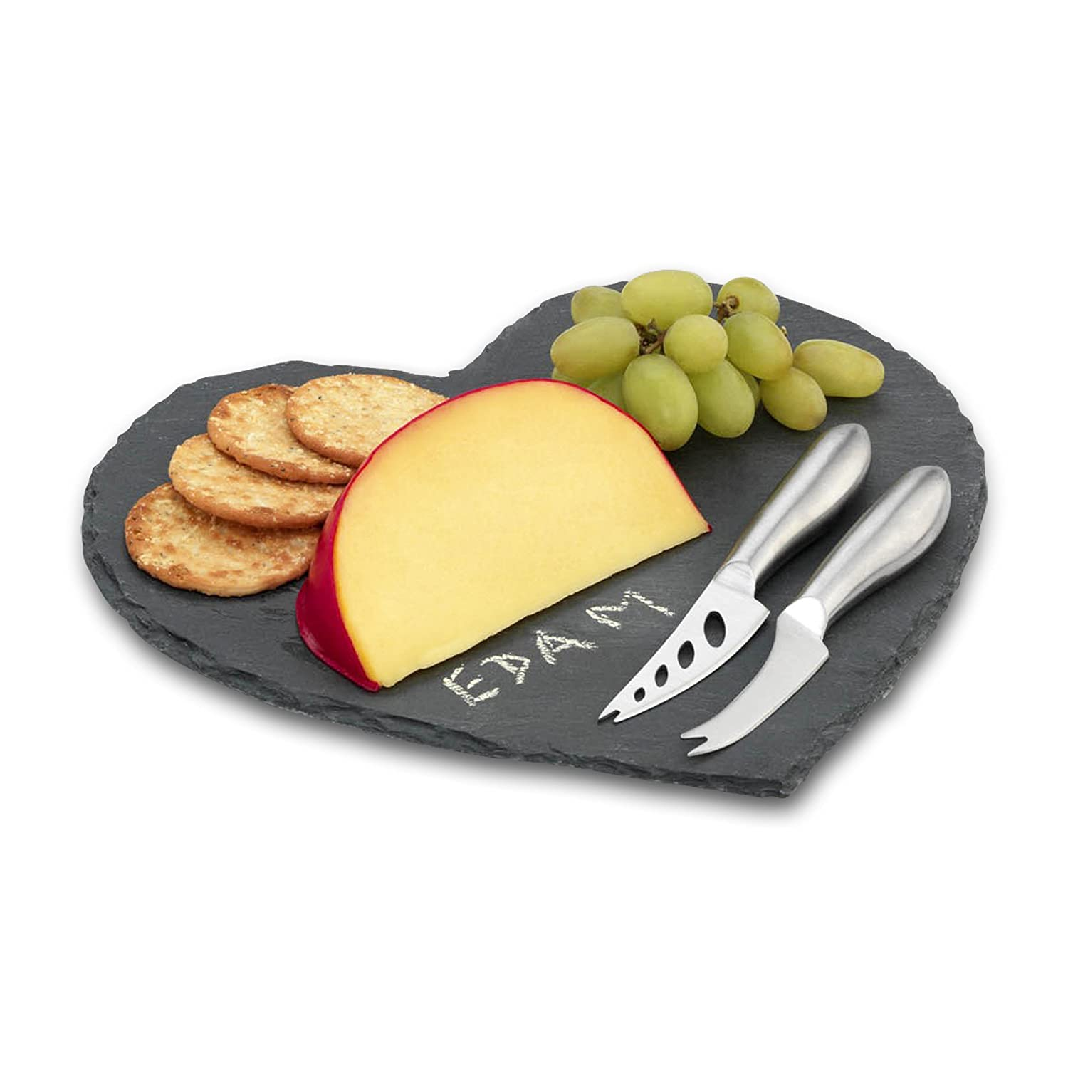 Commichef Natural Heart-Shaped with 2 Stainless Steel Cheese Knives and Chalk, Slate, 4-Piece Grunwerg SLT-HRT