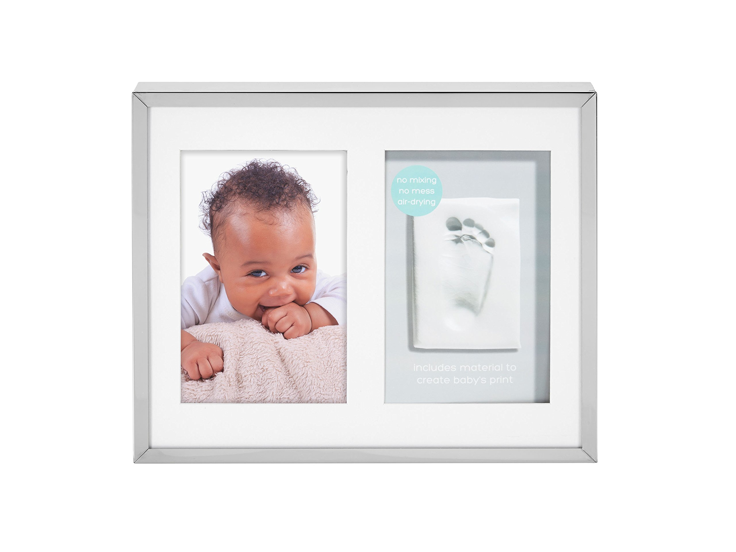 Tiny Ideas Baby's Prints Photo Frame with Included Impression Kit, Keepsake Wall, Silver by Tiny Ideas