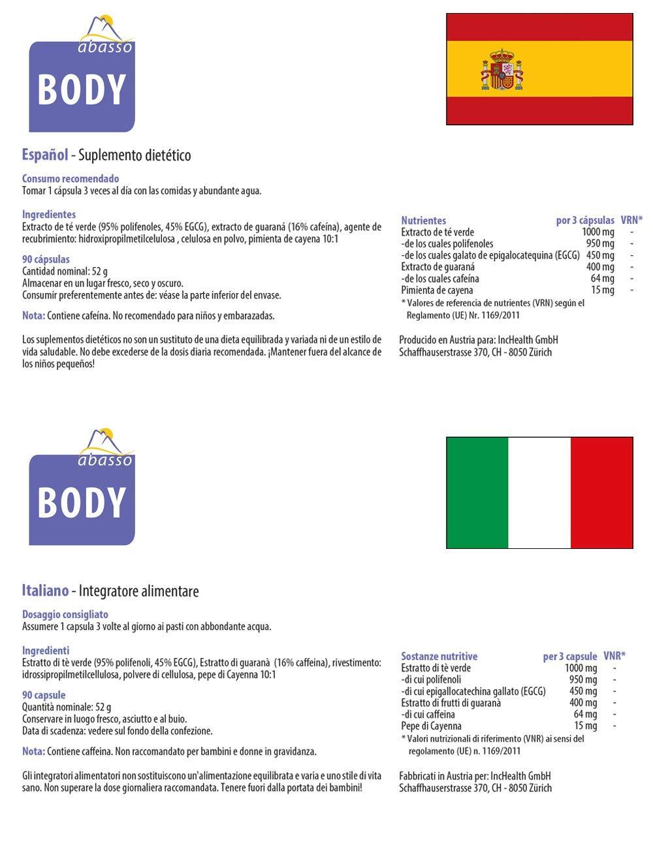 abasso BODY/Extracto de Té verde y de Guaraná / 90 cápsulas | Vegano ...