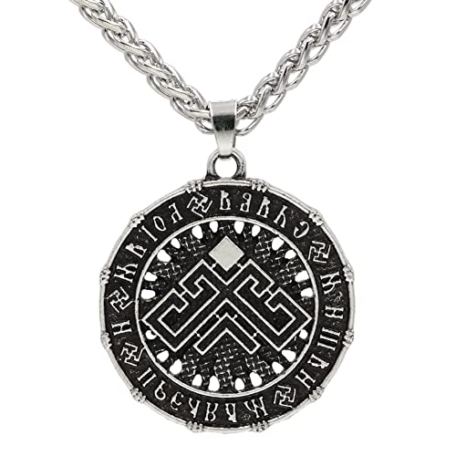 Xicoh Men Slavic Amulet Sun Sun Wheel Talisman Pendant Necklace