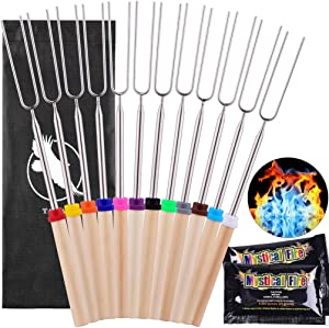 Tayope Marshmallow Roasting Sticks, Smores Skewers for Campfire Fire Pit, Stainless Steel Hot Dog Roasting Sticks with 2 Pack Magical Flame - 12 Sets