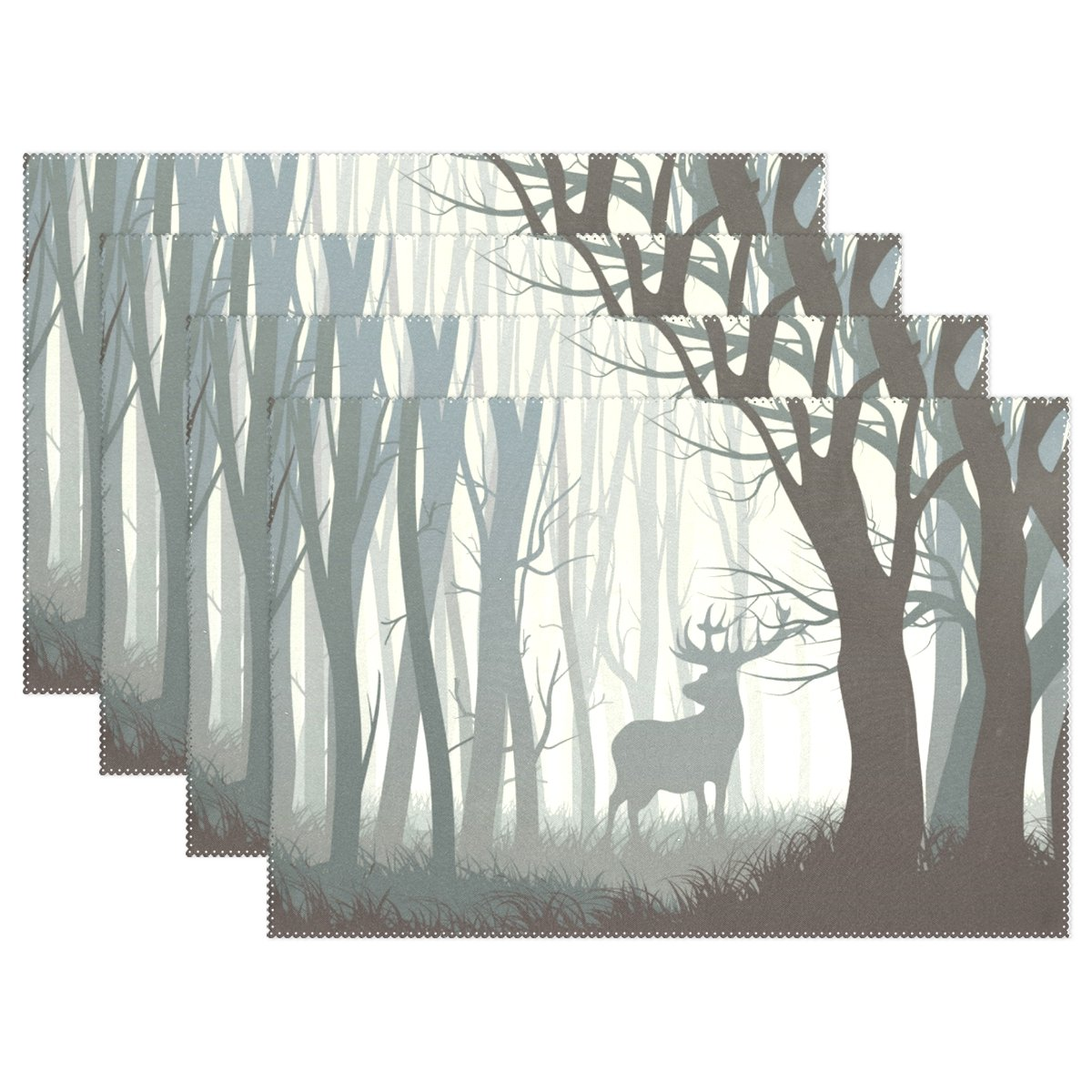 U LIFE抽象Elk Deer Forest Merry ChristmasプレートPlaceマットプレースマットプレイスマットトレイマット12 x 18インチ 4 placemats 4 placemats  B075V98PNS