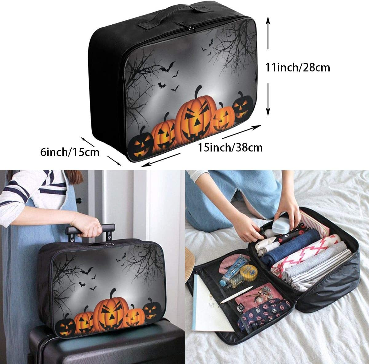 Yunshm Happy Halloween Dark Night Personalized Trolley Handbag Waterproof Unisex Large Capacity For Business Travel Storage