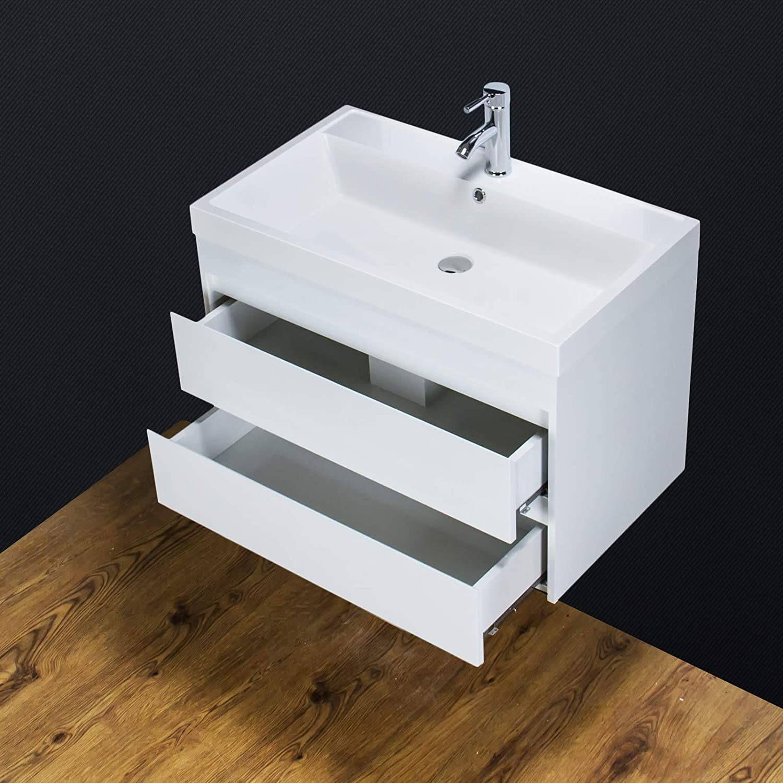 KLARA Vanity Unit Basin Sink Wall hung mounted Square Tap Waste 800 mm