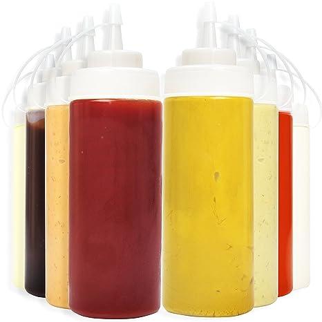 Squeeze botella Set [8 unidades] con Bono embudo, pizarra etiquetas y pluma |