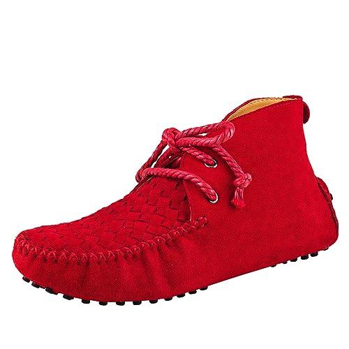 Shenduo Zapatos Casuales - Mocasines de Cuero con Cordones de Moda de Cordones para Mujer D7258 Rojo 37: Amazon.es: Zapatos y complementos