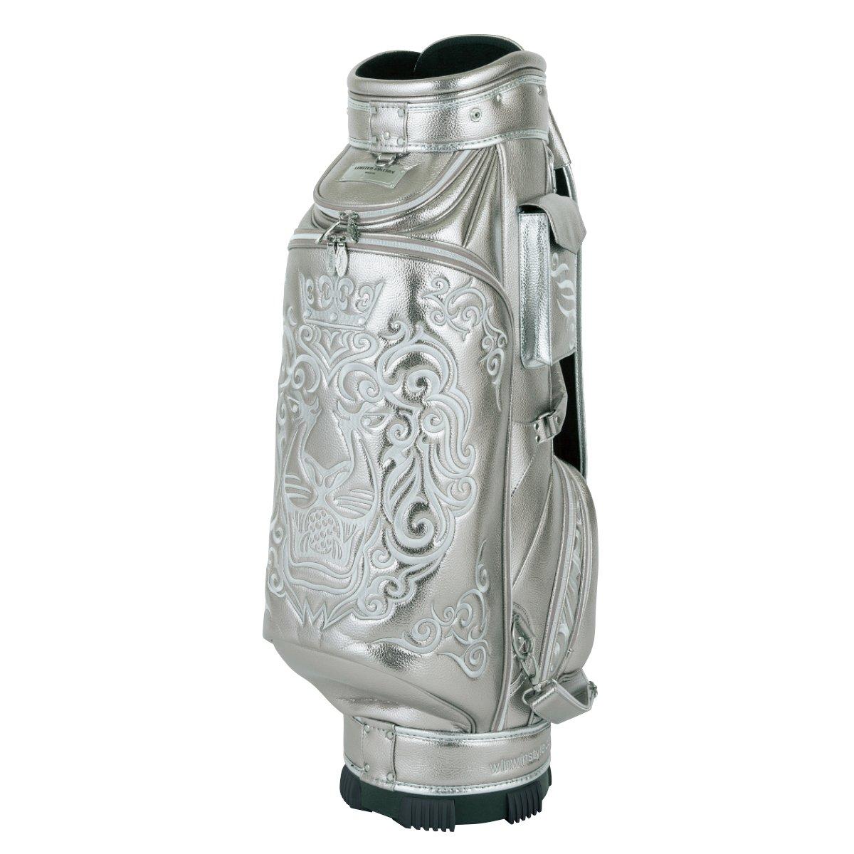 WINWIN STYLE(ウィンウィンスタイル) キャディーバッグ PREMIUM KING Of GOLF (LION DESIGN) CART Bag 9.0型 47インチ対応 限定モデル ユニセックス CB-343 シルバー デザイン:総刺繍   B07B4KQB33