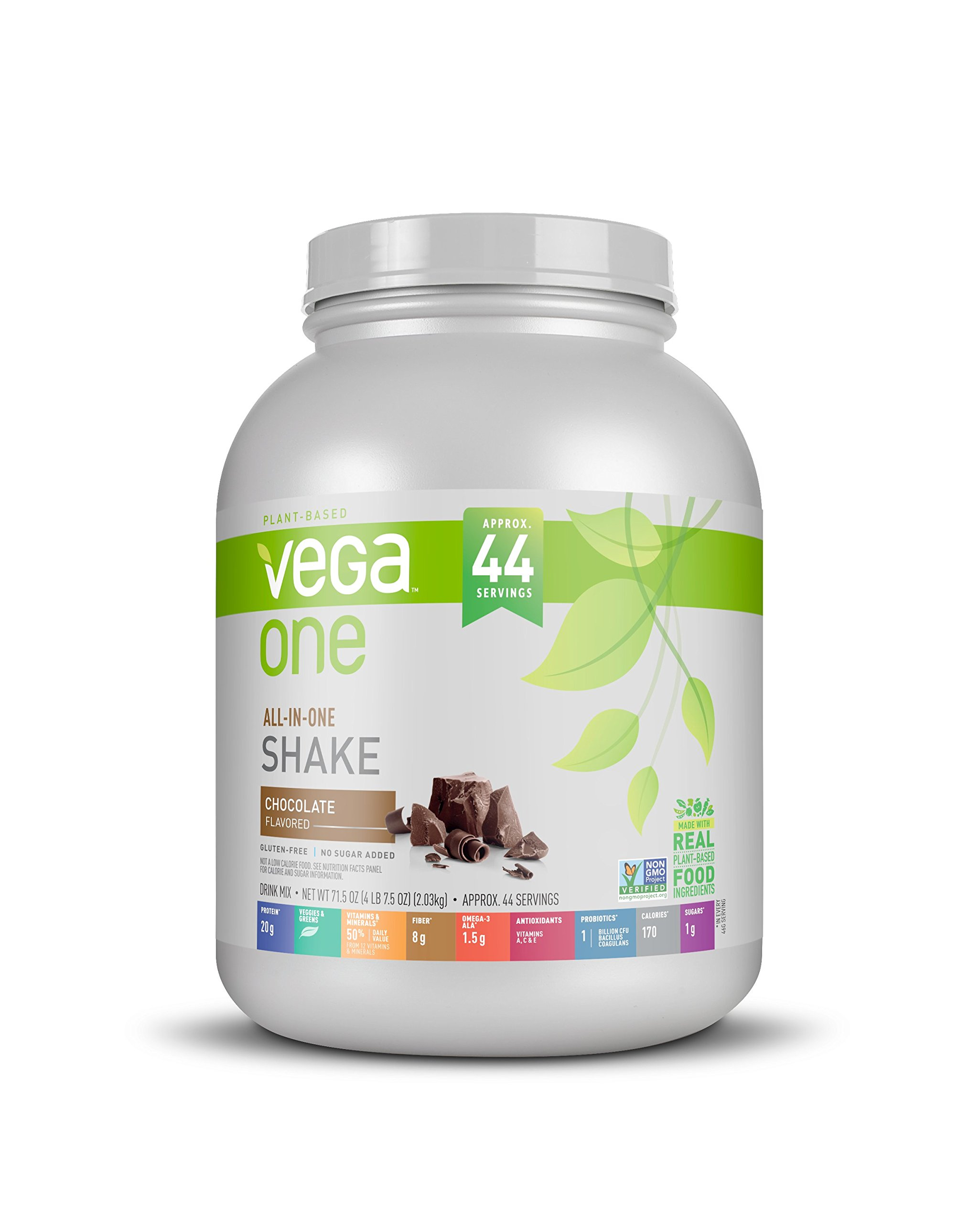 Vega All-in-One Nutritional Shake Chocolate, XL, (4.47 lbs, 44 Servings) - Plant Based Vegan Protein Powder, Non Dairy, Gluten Free, Non GMO