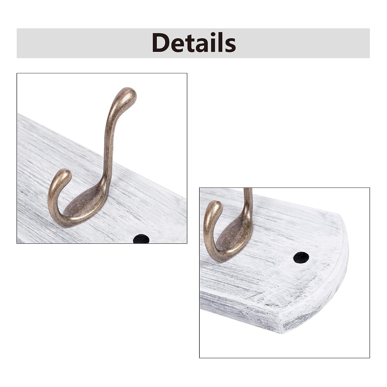 DOKEHOM 6-Ganchos de Bronce Antiguo Percheros de Pared (4 y 6 Ganchos) para Abrigos sobre Tabla de Madera Perchero Percha (Blanco)