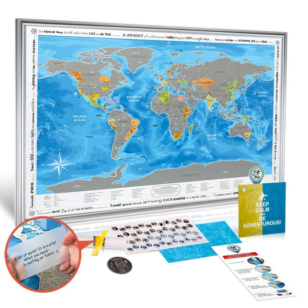 "Framed Discovery Map World - Framed World Map with Scratch off & Detailed Travel Content. Wooden Stylish Silver Frame. Large Size 26x36.2"". Blue Map with Silver Scratch. ORIGINAL (Map in Silver Frame)"