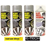 3 x E-Tech Silver Wheel Paint and 1 x Clear Lacquer Car Alloy Wheel Spray Paint (4 Cans In Total)
