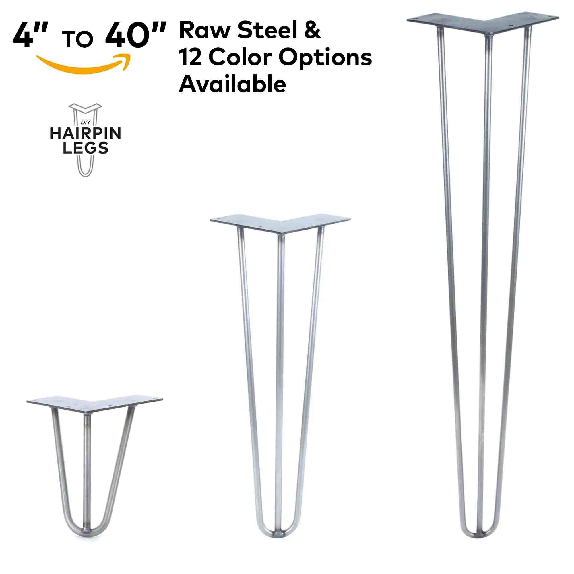 """4'' - 40'' Hairpin Legs - 3Rod Design - Raw Steel - 3/8'' Diameter - MADE in the USA (16"""" Height x 3/8'' Diameter - Each Leg Sold Separately)"""