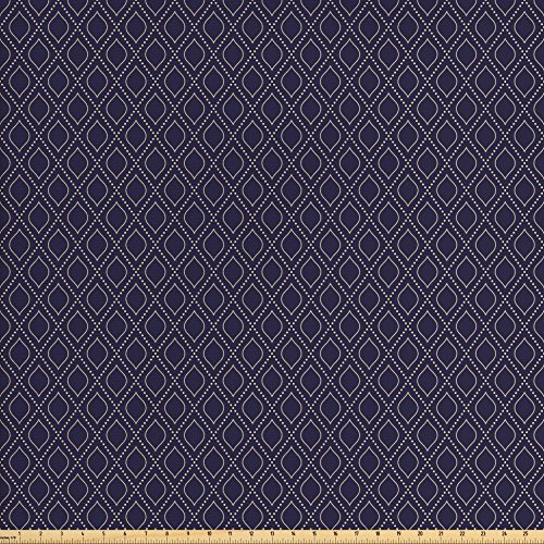 Dotted Fabric - Ambesonne Navy Blue Fabric by the Yard, Geometric Dotted Pattern Design with Abstract Ogee Shapes Grid Ornament Tile, Decorative Fabric for Upholstery and Home Accents, Dark Blue Tan