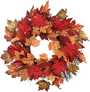 """Larksilk 20"""" Fall Maple Leaf Wreath, Detailed Multi-Colored Autumn Leaves, Twig Base, Handcrafted Wreath, UV Resistant, Front Door Wreath, Fireplace, Mantel Decor"""