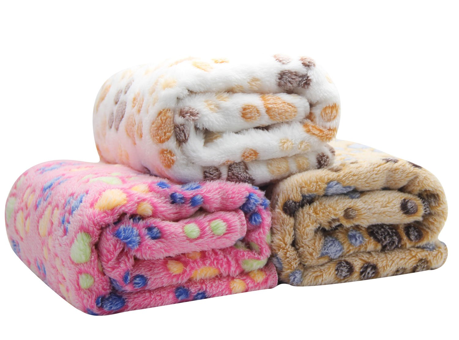 3-Pack Thick Warm Pet Fleece Blankets for Small Cats Dogs Animals