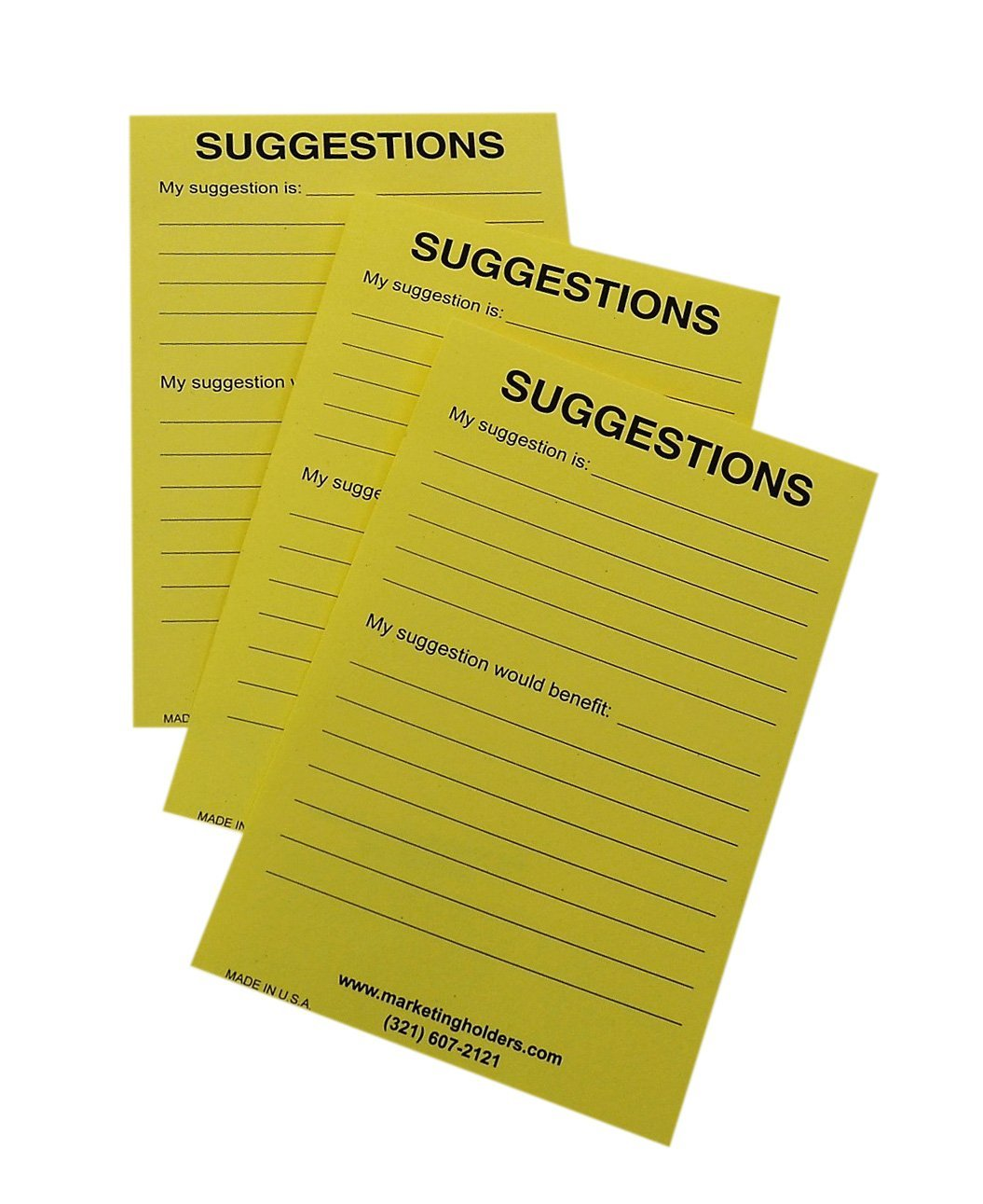 Buddy Products Suggestion Box Cards, 4 x 6 Inches, Yellow, 50 Cards per Pack (5621)