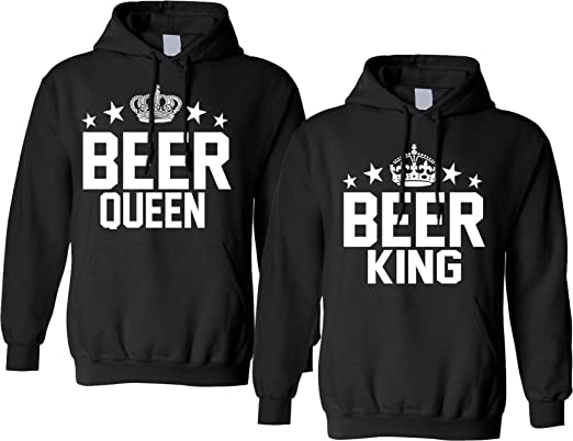 1e89c2a44e Allntrends Couple Hoodie Beer King and Queen Matching ST Patrick's Party  Tops (Womens 2XL Mens