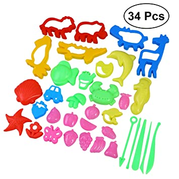 YeahiBaby Herramientas de moldeo de masa de arcilla DIY 34pcs Molde de arena de las artesanías Juguetes de plastilina para niños: Amazon.es: Juguetes y ...