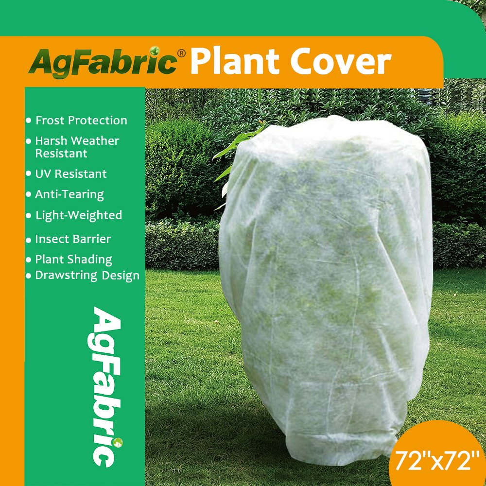 Agfabric Plant Cover Warm Worth Frost Blanket - 1.5 oz Fabric of 72''Hx72''W Shrub Jacket, Rectangle Plant Cover for Season Extension&Frost Protection