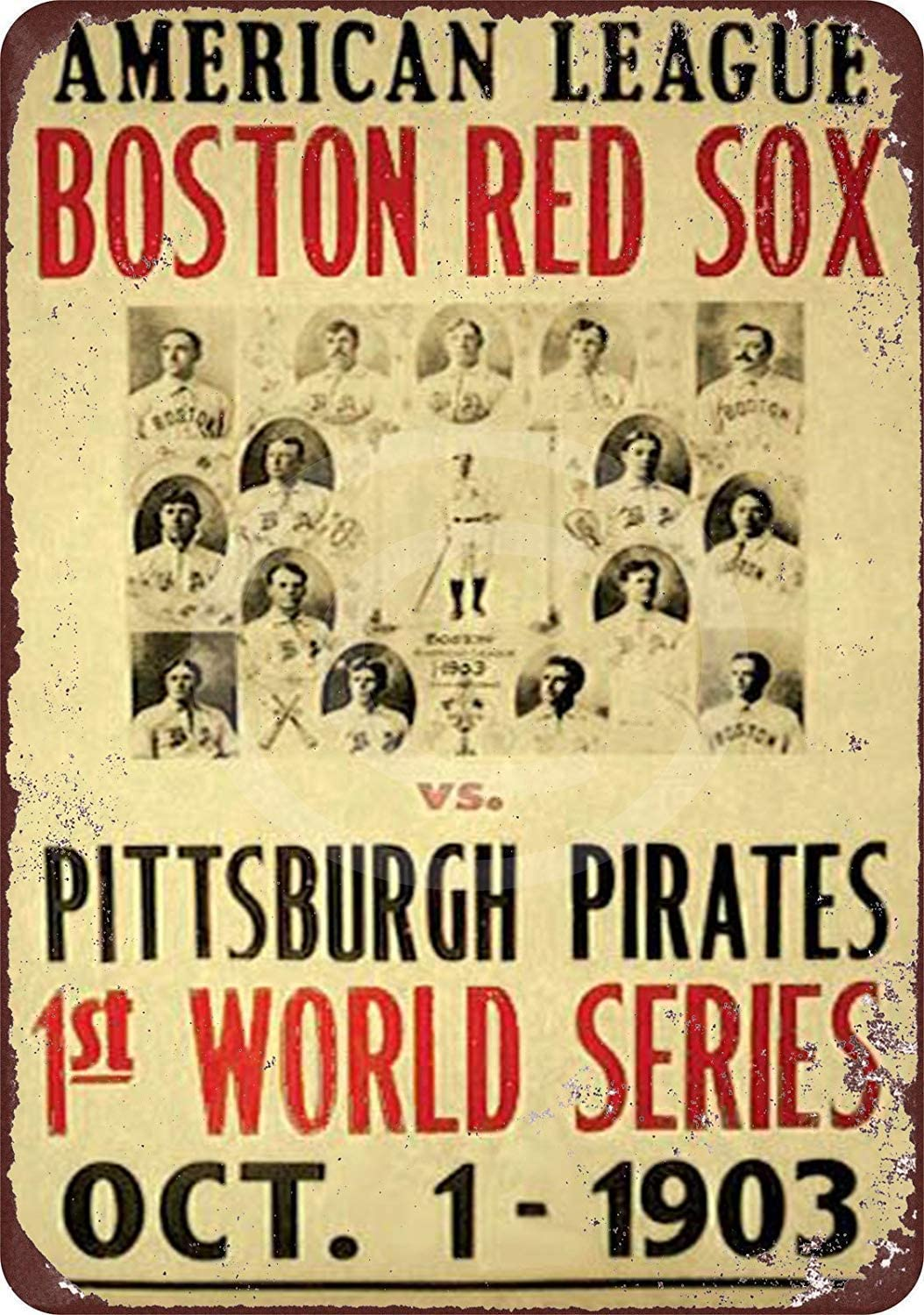 INNAPER Funny Retro Wall Décor Tin Sign for Home Red Sox Pirates 1903 World Series Rustic Vintage Look Aluminum Metal Sign 8x12 Inches (YHA078)