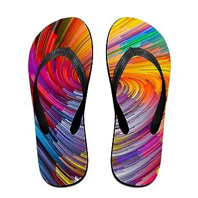 f585570b50492 Amazon.com  Couple Slipper Rainbow Color Votex Print Flip Flops Unisex Chic  Sandals Rubber Non-Slip Beach Thong Slippers  Clothing
