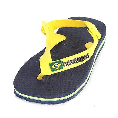 d3888149a4c1 Havaianas Baby Brasil Logo Rubber Flip Flop Marine Blue Citrus Yellow   Amazon.co.uk  Shoes   Bags
