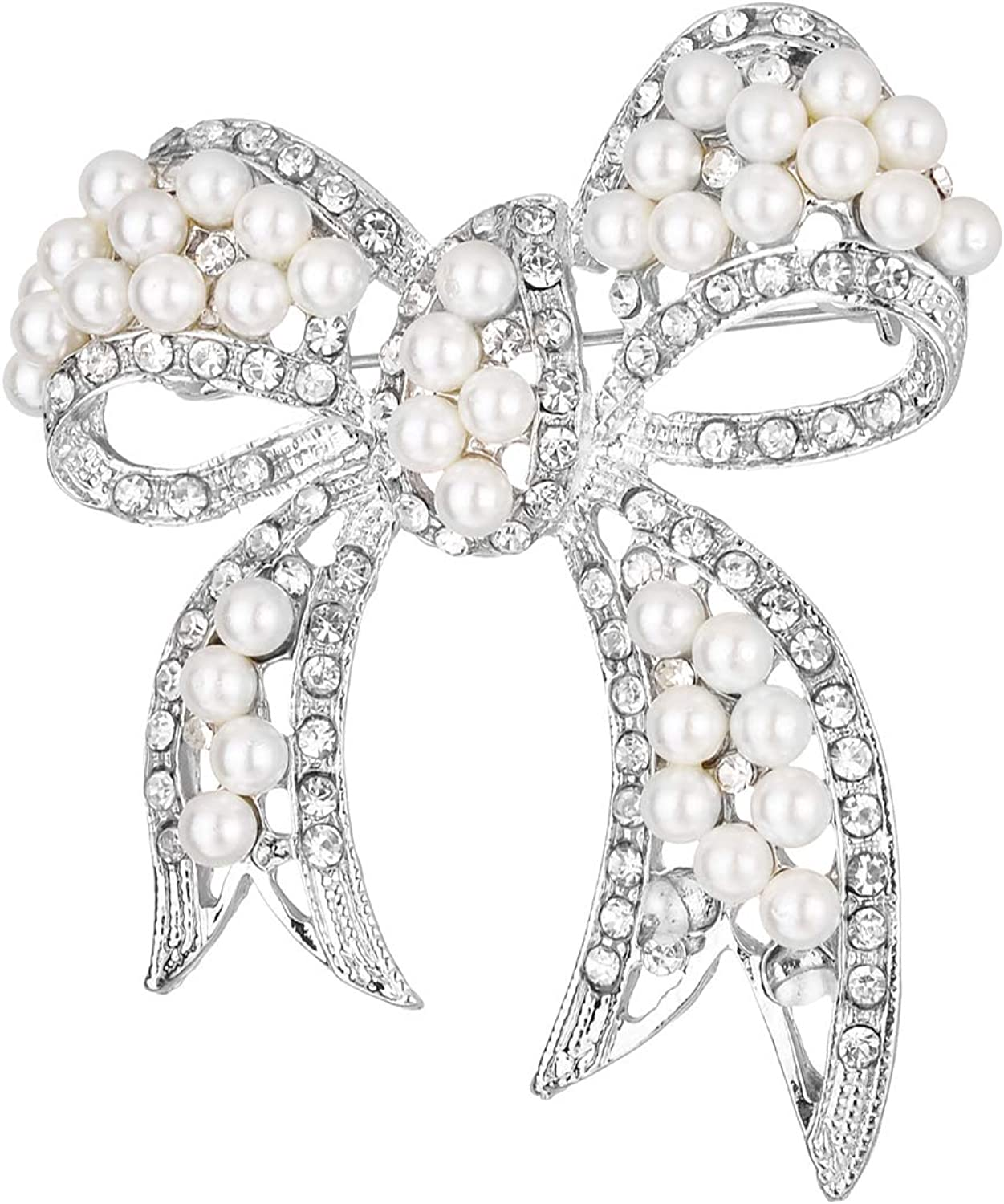 Jones New York Silver White Round Pearls Ribbon Clear Rhinestones Brooches and Pins