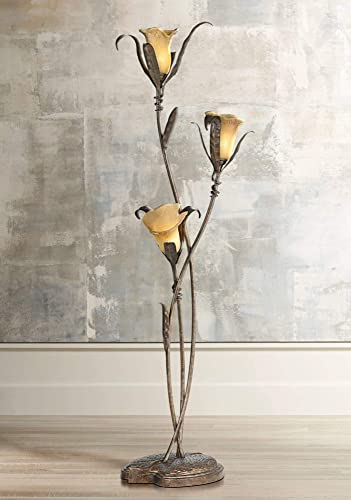 Artistic Floor Lamp Bronze and Gold Lily Shaped Amber Glass Flower Lights