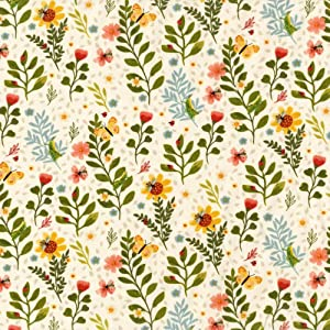 Clothworks Garden Notes Toss Cream Quilt Fabric (0681482)