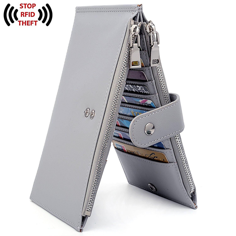 UTO RFID Wallet for Women PU Leather Blocking Tech 19 Card Case Money Organizer Phone Zipper Pocket Grey