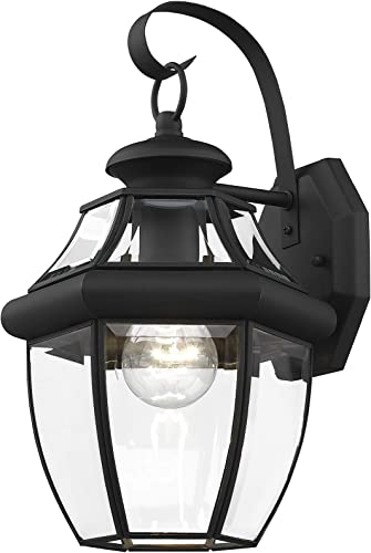 Livex Lighting 2151-04 Monterey 1 Light Outdoor Black Finish Solid Brass Wall Lantern with Clear Beveled Glass