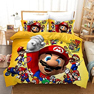 3D Super Mario Duvet Cover Set Children Cartoon Super Mario Bedding Set Kids Boys Girs and Teenagers Bed Set 3PC 1 Duvet Cover,2Pillowcases,Twin Full Queen King Size