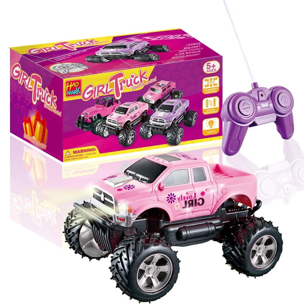 Haomark Girls Remote Control Truck Car Toy For Kids Toddlers Birthday Christmas 1 24 Scale Rc Trucks Vehicles Pink Buy Online In Colombia At Desertcart