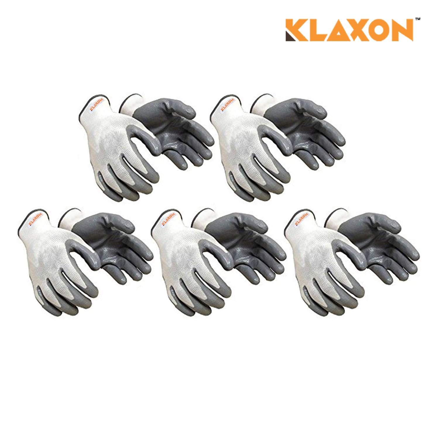 Klaxon Nylon Safety Hand Gloves (Pair 5) …