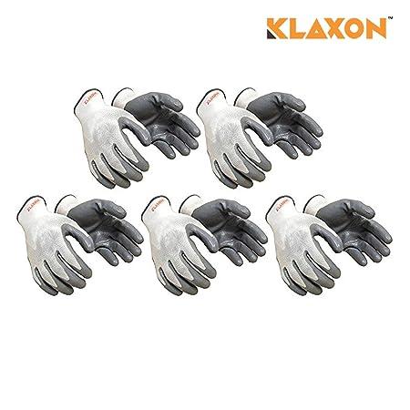 Klaxon Nylon Safety Hand Gloves (5 Pair)