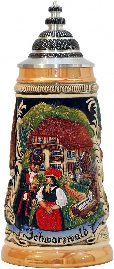 Zöller & Born Jarra de Cerveza Alemana Panorama de la Selva Negra con una tapadera de estaño, Jarra 0,5 litros ZO 1749-996