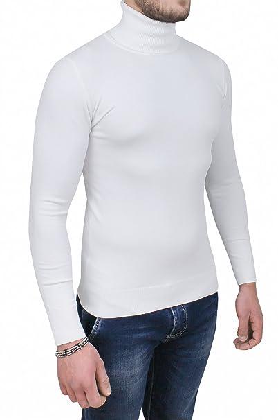 foto ufficiali 88cd7 a408b Maglione Dolcevita Uomo Bianco Slim Fit Maglia Pullover Casual Formale